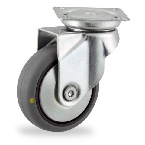Galvanisé roulette pivotante 100mm  pour chariots,roue de Conductrice caoutchouc thermoplastique couleur gris,moyeu lisse.Monté en platine