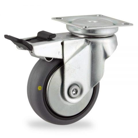 Galvanisé roulette pivotante avec frein 50mm  pour chariots,roue de Conductrice caoutchouc thermoplastique couleur gris,roulement à billes.Monté en platine