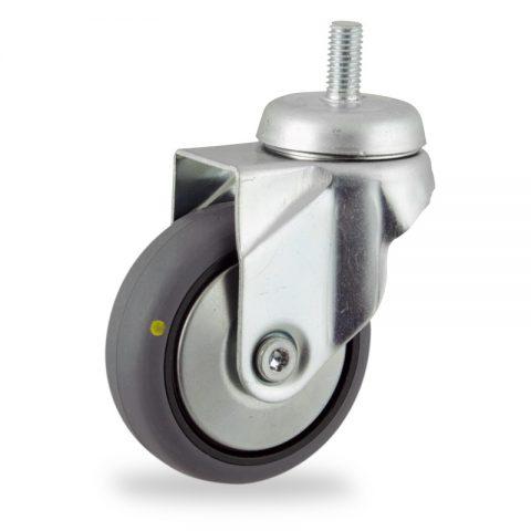 Galvanisé roulette pivotante 75mm  pour chariots,roue de Conductrice caoutchouc thermoplastique couleur gris,moyeu lisse.Monté en embout filété