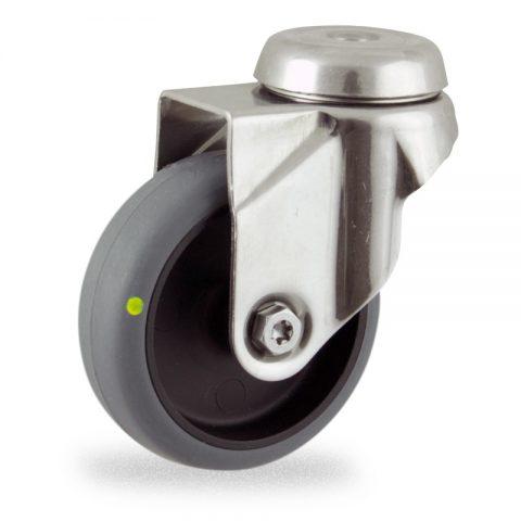 Inoxydable roulette pivotante 50mm  pour chariots,roue de Conductrice caoutchouc thermoplastique couleur gris,moyeu lisse.Monté en trou central