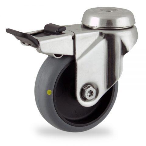 Inoxydable roulette pivotante avec frein 50mm  pour chariots,roue de Conductrice caoutchouc thermoplastique couleur gris,moyeu lisse.Monté en trou central