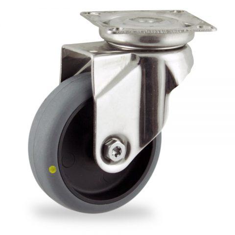 Inoxydable roulette pivotante 100mm  pour chariots,roue de Conductrice caoutchouc thermoplastique couleur gris,moyeu lisse.Monté en platine