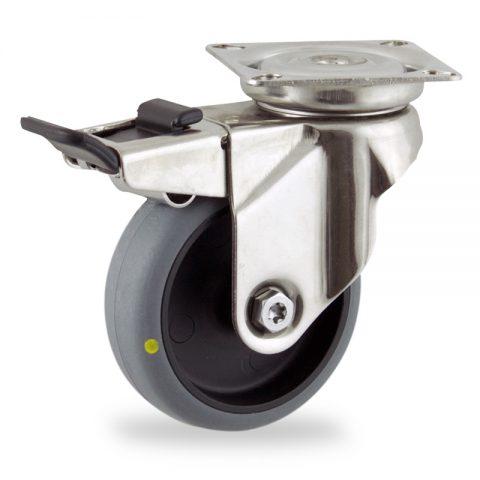 Inoxydable roulette pivotante avec frein 100mm  pour chariots,roue de Conductrice caoutchouc thermoplastique couleur gris,roulement à billes.Monté en platine