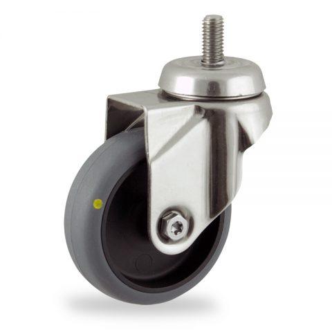 Inoxydable roulette pivotante 75mm  pour chariots,roue de Conductrice caoutchouc thermoplastique couleur gris,moyeu lisse.Monté en embout filété