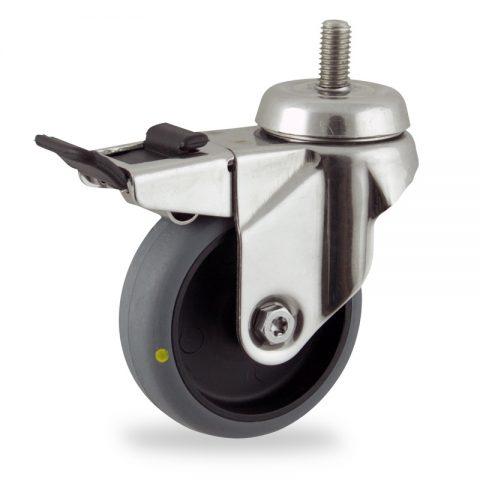 Inoxydable roulette pivotante avec frein 75mm  pour chariots,roue de Conductrice caoutchouc thermoplastique couleur gris,roulement à billes.Monté en embout filété