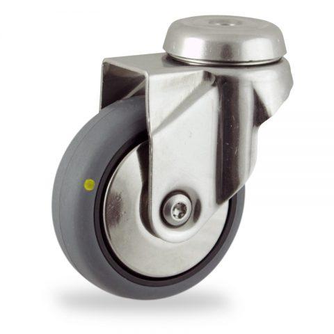 Inoxydable roulette pivotante 125mm  pour chariots,roue de Conductrice caoutchouc thermoplastique couleur gris,roulement à billes.Monté en trou central