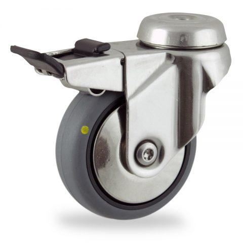 Inoxydable roulette pivotante avec frein 100mm  pour chariots,roue de Conductrice caoutchouc thermoplastique couleur gris,moyeu lisse.Monté en trou central