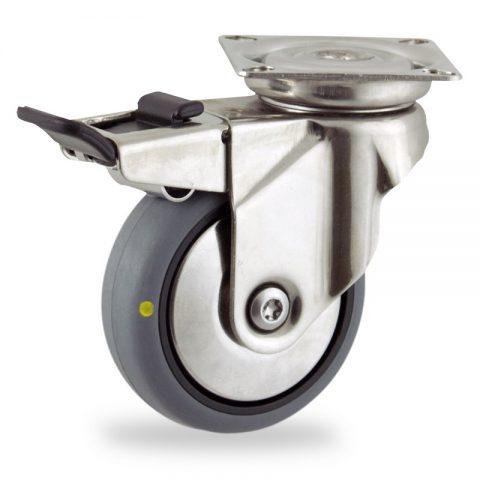 Inoxydable roulette pivotante avec frein 50mm  pour chariots,roue de Conductrice caoutchouc thermoplastique couleur gris,roulement à billes.Monté en platine