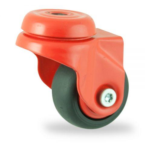 Coloré roulette pivotante 50mm  pour chariots,roue de caoutchouc thermoplastique couleur noir,moyeu lisse.Monté en trou central