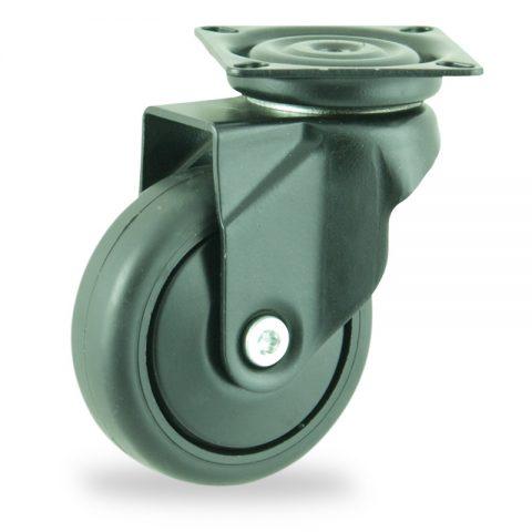 Coloré roulette pivotante 75mm  pour chariots,roue de caoutchouc thermoplastique couleur noir,moyeu lisse.Monté en platine
