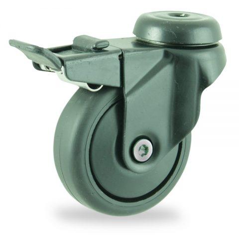Coloré roulette pivotante avec frein 75mm  pour chariots,roue de caoutchouc thermoplastique couleur noir,moyeu lisse.Monté en trou central