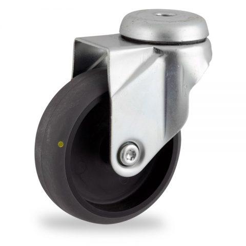 Galvanisé roulette pivotante 100mm  pour chariots,roue de Conductrice caoutchouc thermoplastique couleur gris,moyeu lisse.Monté en trou central