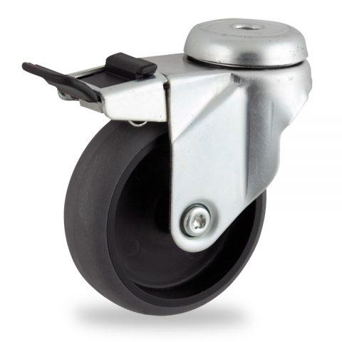 Galvanisé roulette pivotante avec frein 100mm  pour chariots,roue de Conductrice caoutchouc thermoplastique couleur gris,moyeu lisse.Monté en trou central