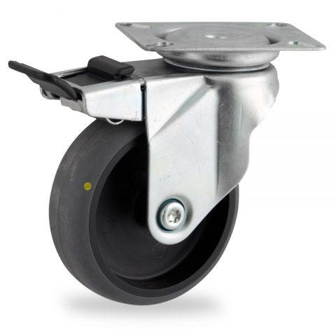 Galvanisé roulette pivotante avec frein 150mm  pour chariots,roue de Conductrice caoutchouc thermoplastique couleur gris,roulement à billes.Monté en platine