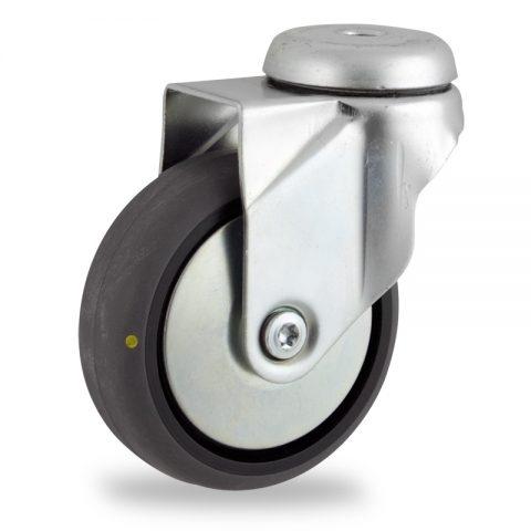 Galvanisé roulette pivotante 150mm  pour chariots,roue de Conductrice caoutchouc thermoplastique couleur gris,roulement à billes.Monté en trou central