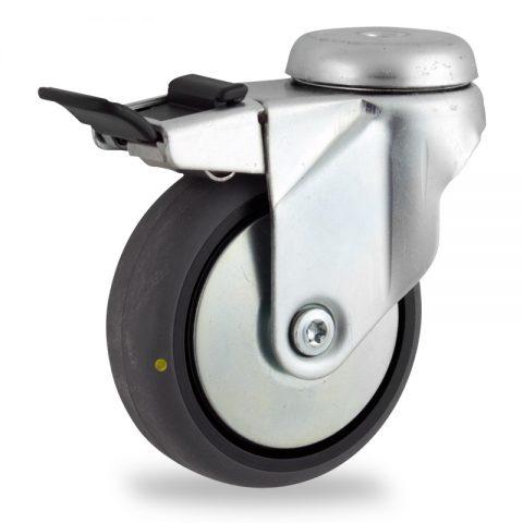 Galvanisé roulette pivotante avec frein 125mm  pour chariots,roue de Conductrice caoutchouc thermoplastique couleur gris,moyeu lisse.Monté en trou central