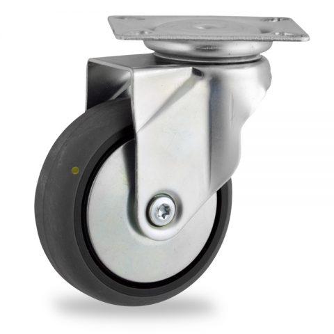 Galvanisé roulette pivotante 125mm  pour chariots,roue de Conductrice caoutchouc thermoplastique couleur gris,moyeu lisse.Monté en platine