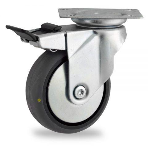 Galvanisé roulette pivotante avec frein 100mm  pour chariots,roue de Conductrice caoutchouc thermoplastique couleur gris,moyeu lisse.Monté en platine