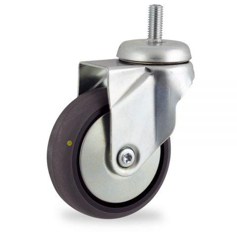 Galvanisé roulette pivotante 100mm  pour chariots,roue de Conductrice caoutchouc thermoplastique couleur gris,moyeu lisse.Monté en embout filété