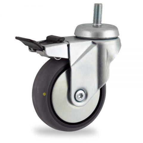 Galvanisé roulette pivotante avec frein 150mm  pour chariots,roue de Conductrice caoutchouc thermoplastique couleur gris,roulement à billes.Monté en embout filété