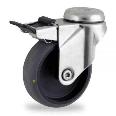 Inoxydable roulette pivotante avec frein 75mm  pour chariots,roue de Conductrice caoutchouc thermoplastique couleur gris,moyeu lisse.Monté en trou central