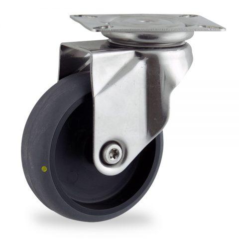 Inoxydable roulette pivotante 125mm  pour chariots,roue de Conductrice caoutchouc thermoplastique couleur gris,moyeu lisse.Monté en platine