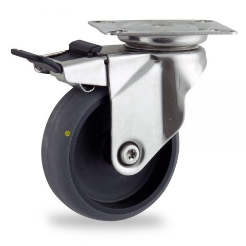 Inoxydable roulette pivotante avec frein 125mm  pour chariots,roue de Conductrice caoutchouc thermoplastique couleur gris,roulement à billes.Monté en platine
