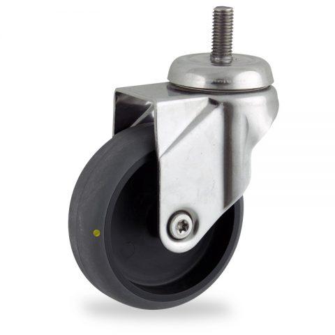 Inoxydable roulette pivotante 100mm  pour chariots,roue de Conductrice caoutchouc thermoplastique couleur gris,moyeu lisse.Monté en embout filété