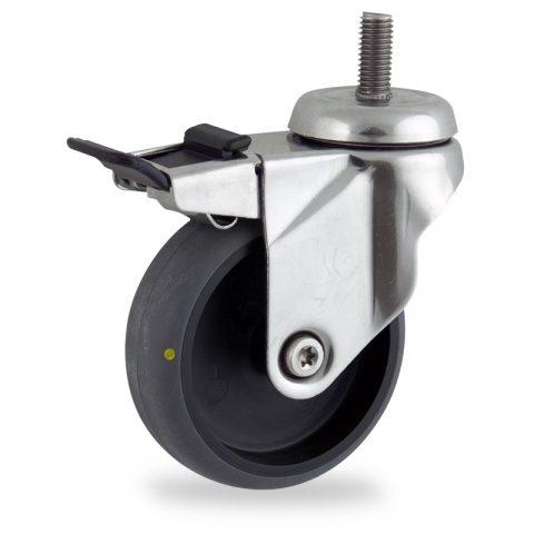 Inoxydable roulette pivotante avec frein 100mm  pour chariots,roue de Conductrice caoutchouc thermoplastique couleur gris,roulement à billes.Monté en embout filété