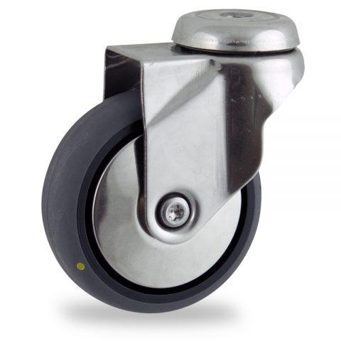 Inoxydable roulette pivotante 150mm  pour chariots,roue de Conductrice caoutchouc thermoplastique couleur gris,roulement à billes.Monté en trou central
