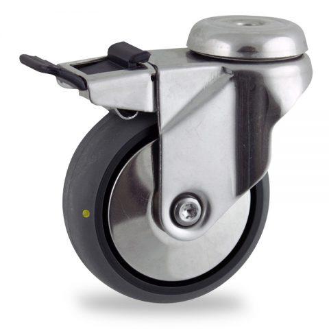 Inoxydable roulette pivotante avec frein 125mm  pour chariots,roue de Conductrice caoutchouc thermoplastique couleur gris,moyeu lisse.Monté en trou central