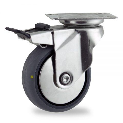 Inoxydable roulette pivotante avec frein 125mm  pour chariots,roue de Conductrice caoutchouc thermoplastique couleur gris,moyeu lisse.Monté en platine
