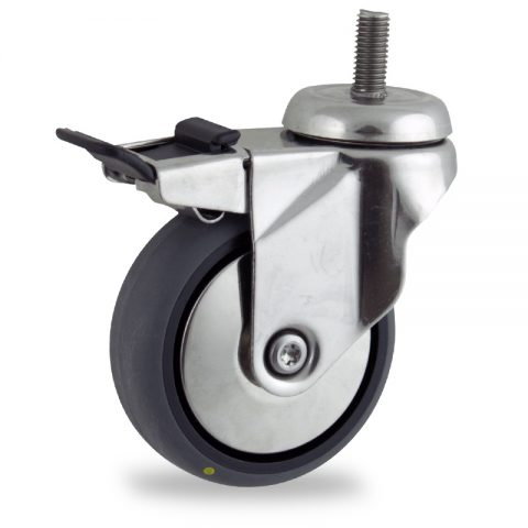 Inoxydable roulette pivotante avec frein 150mm  pour chariots,roue de Conductrice caoutchouc thermoplastique couleur gris,roulement à billes.Monté en embout filété