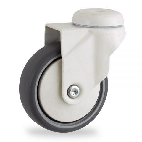 Coloured roulette pivotante 100mm  pour chariots,roue de caoutchouc thermoplastique couleur gris,moyeu lisse.Monté en trou central