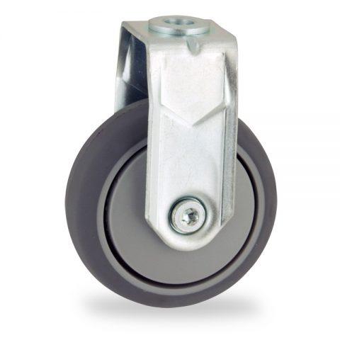 Galvanisé roulette fixe  75mm  pour chariots,roue de caoutchouc thermoplastique couleur gris,moyeu lisse.Monté en trou central