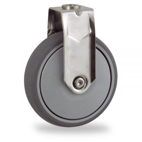 Inoxydable roulette fixe  125mm  pour chariots,roue de caoutchouc thermoplastique couleur gris,roulement à billes de precision.Monté en trou central