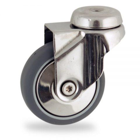 Inoxydable roulette pivotante 100mm  pour chariots,roue de caoutchouc thermoplastique couleur gris,moyeu lisse.Monté en trou central