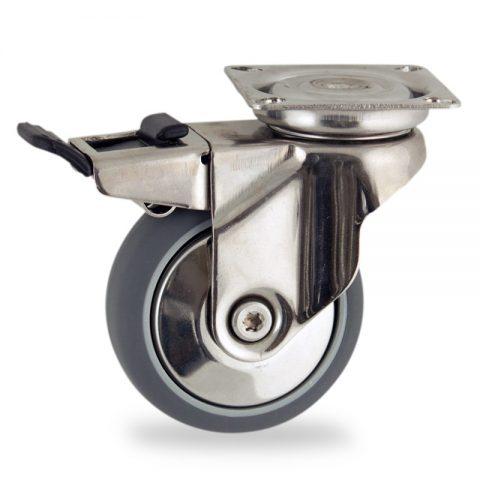 Inoxydable roulette pivotante avec frein 100mm  pour chariots,roue de caoutchouc thermoplastique couleur gris,moyeu lisse.Monté en platine