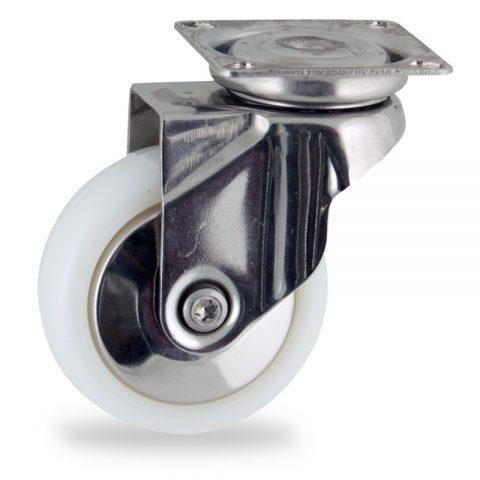 Inoxydable roulette pivotante 75mm  pour chariots,roue de polyamide,moyeu lisse.Monté en platine