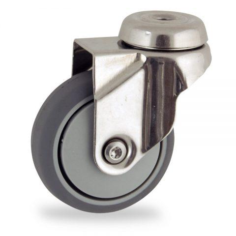 Inoxydable roulette pivotante 75mm  pour chariots,roue de caoutchouc thermoplastique couleur gris,moyeu lisse.Monté en trou central