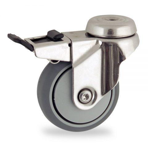 Inoxydable roulette pivotante avec frein 75mm  pour chariots,roue de caoutchouc thermoplastique couleur gris,moyeu lisse.Monté en trou central