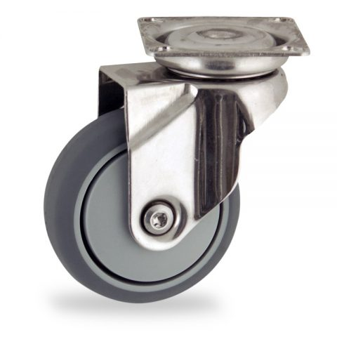 Inoxydable roulette pivotante 50mm  pour chariots,roue de caoutchouc thermoplastique couleur gris,roulement à billes.Monté en platine