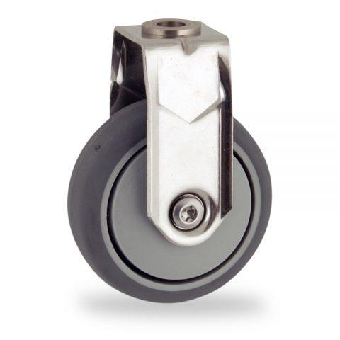 Inoxydable roulette fixe  75mm  pour chariots,roue de caoutchouc thermoplastique couleur gris,moyeu lisse.Monté en trou central