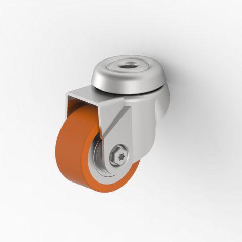 Galvanisé roulette pivotante 50mm  pour chariots,roue  de polyuréthane,roulement à billes.Monté en trou central
