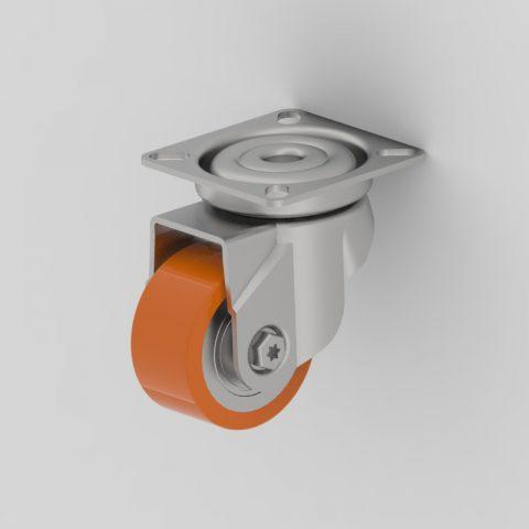 Galvanisé roulette pivotante 50mm  pour chariots,roue de polyuréthane,roulement à billes.Monté en platine