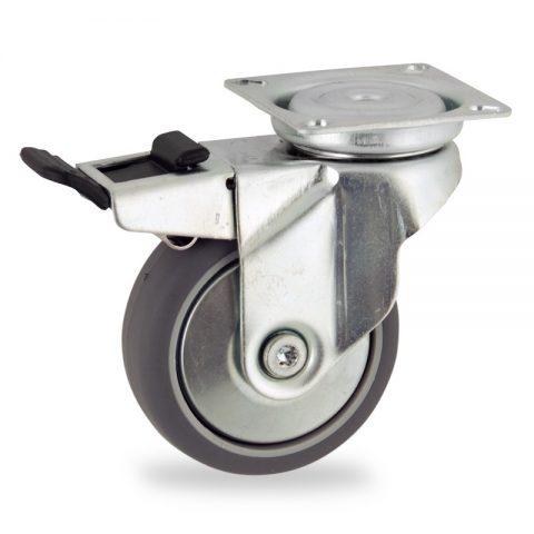 roulette pivotante avec frein 75mm de caoutchouc thermoplastique couleur gris pour chariots. Black Bedroom Furniture Sets. Home Design Ideas
